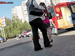 Upskirt in public with sexy woman in pantyhose