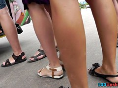 Amateur upskirt footage by crazy guy with hidden cam