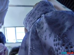 Amateur up skirt action with a girl in a-line dress