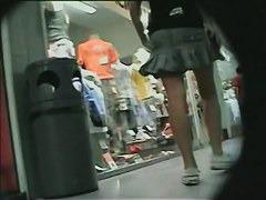Buffet of perfect teen ass shot up skirt at a shopping mall