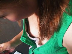 Cute asian brunette gets a downblouse amateur film shot of her jiggling tits