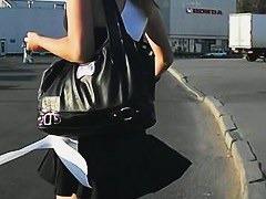 Fuckable blonde girls smoking upskirt voyeur video