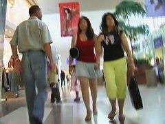 Supermarket voyeur follows a lot of skin showing chubby asian girls
