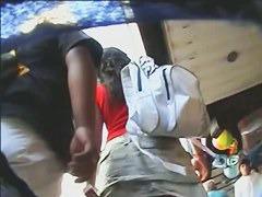 A kinky couple underskirt candid voyeur street video