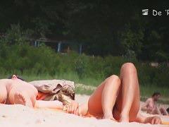 Hot, long and muscular naked beach woman legs voyeur video