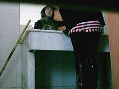 Pissing black hair kneeling woman spy voyeur video