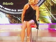 Italian beauties n a television show reveal their thongs for a split of a second