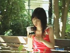 Black hair asian teen in a pink shirt sharking video for free