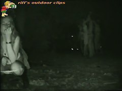 Voyeur catches a cute blonde pissing outdoors