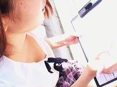 Cute Asian schoolgirl falls prey to a downblouse voyeur