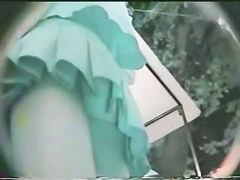 Two hot women chased by an upskirt voyeur