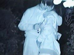 Voyeur films an Asian couple having sex in a park