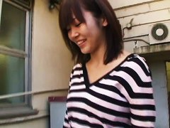 Asian cutie lets a voyeur see down her blouse