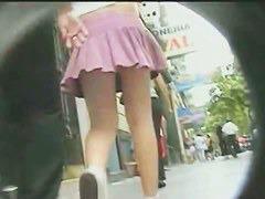 Gorgeous blonde has a hidden cam up her skirt
