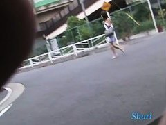 cute Japanese girl getting top sharked on the street in public