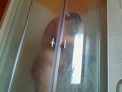 Chubby ass shaved pussy white brunette woman in shower porno