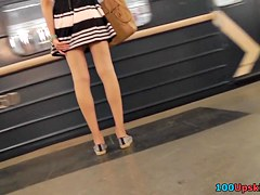 Only the hottest upskirt XXX with petite woman