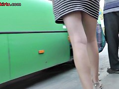 ass in thong is presented in up skirt free video