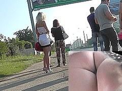 Naughty blonde girl caught for the hot upskirt XXX