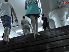 Pretty bright-haired gal participates in upskirt video