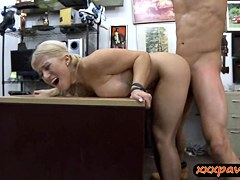 Sexy blonde stripper pawns her tight pussy for some cash