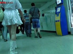 Pretty dame with blonde hair caught in upskirt free vid