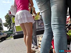 Hot upskirt pictures with brunette chick and her ass