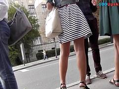 Petite brunette exposes lingerie in upskirt free clip