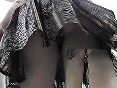 Gorgeous upskirt girl's view excites all spectators