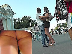 Hot public upskirt view excites with hot fatty ass