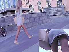 Skinny upskirt ass demonstrated by amateur blonde