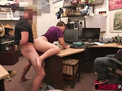 Two brunette ladies gets caught stealing stuff and gets fucked