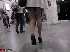 Amazing upskirt video with blonde babe in main role