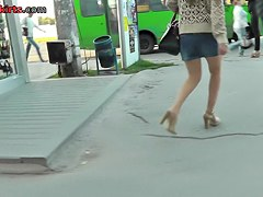Long-haired girlfriend caught on street in upskirt clip
