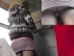 Sexy upskirts in public of the pretty young chick
