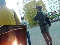 Unsuspecting woman in the video upskirt action