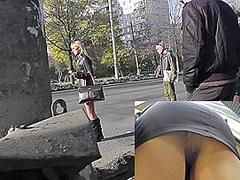 Blonde filmed by upskirt camera in the public transport