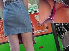 Real upskirt vid filmed in the public transport