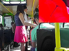 Upskirt outdoor scene with hot lady in A-line skirt