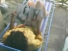 sexy masturbating on terrace