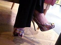 Sexy Feet in Restaurant