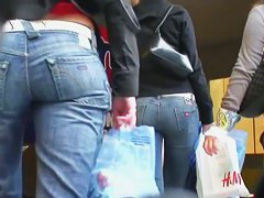 Amazing brunette in tight blue jeans a tight sweater candid porno