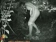 Pale blonde club girl takes a piss in a wooded area black and white porno