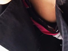 Asian business woman porno vid showing tits in a black and pink blouse