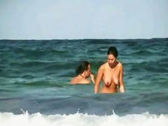 Nude 10 with wet shaking boobies and perfect ass in porno on the beach.