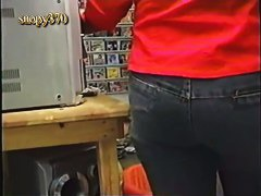 video store clerks' white panties with a picture in an upskirt vid
