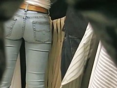 Three hotties voyeur ass tits and pussy jeans dark and light porno