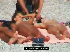 Nudist beach porno, 3 naked chicks nice boobs, pussy and tats