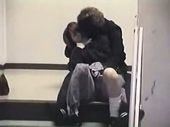 Fingering an Asian slut with clothes on, staircase porno video