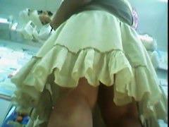 White tall & xxxl blonde in a beige skirt with a huge ass shopping